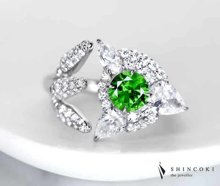 【HANDMADE】PT950 デマントイドガーネット 0.84ct ダイヤモンド 1.707ct※中央宝石研究所ソーティングシート付