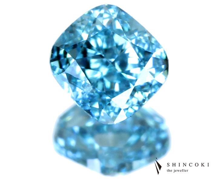 ダイヤモンド ルース 0.150ct FANCY VIVID GREEN BLUE VS2 ※AGTソーティングシート付