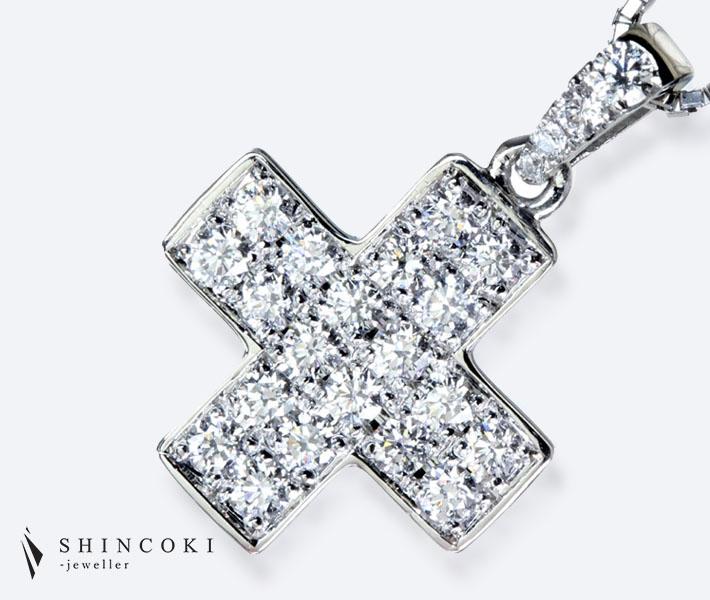 【HANDMADE】ダイヤモンド クロスモチーフ ペンダントトップ 0.381ct PT950