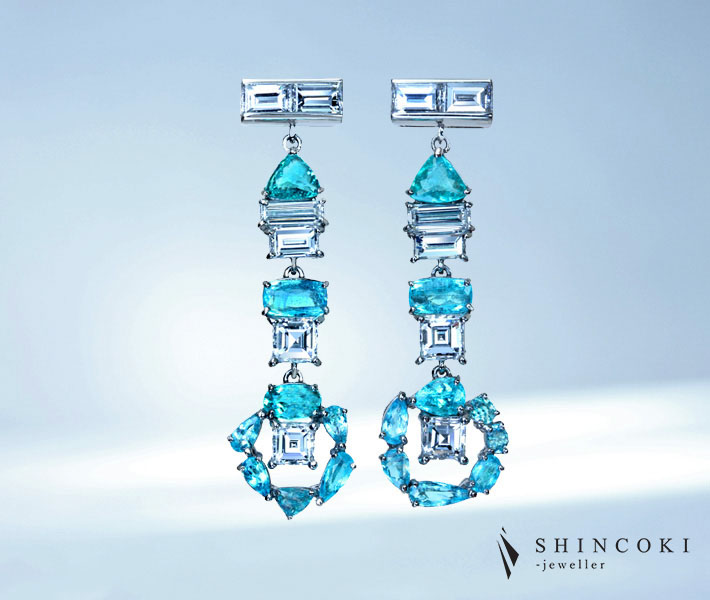 【HANDMADE】P950 パライバトルマリン 1.534ct ダイヤモンド 2.213ct ピアス ※CGLソーティング付