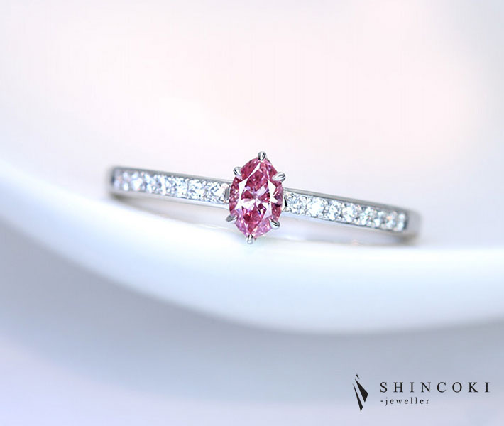 【HANDMADE】PT900 ピンクダイヤモンド 0.203ct FANCY INTENSE PURPLISH PINK ダイヤモンド 0.08ct リング ※GIA鑑定書付