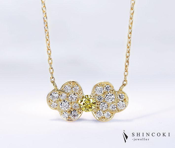 【HANDMADE】K18 イエローダイヤモンド 0.123ct FANCY VIVID YELLOW SI1 ダイヤモンド 0.273ct ネックレス ヴィヴィッドイエロー