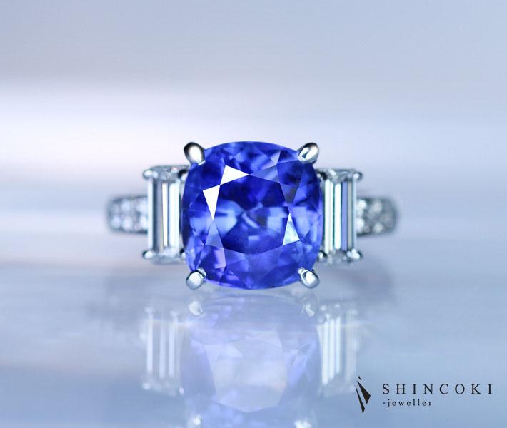 PT900 6.07ct 非加熱ブルーサファイア リング 1.074ctダイヤモンド ※GRJ鑑別書付
