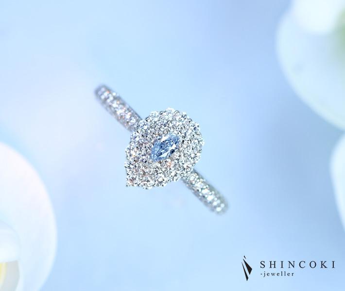 【HANDMADE】PT950 ブルーダイヤモンド 0.08ct FANCY BLUE VS2 TYPE2B ダイヤモンド 0.614ct リング ※AGTソーティングシート付 ファンシーブルー 天然ブルーダイヤ 二重取り巻き