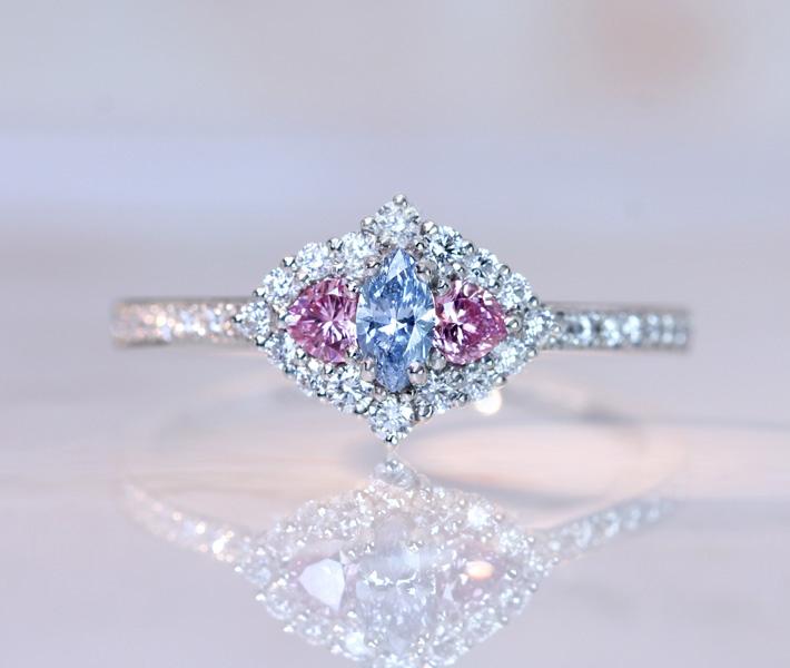 【HANDMADE】PT950 ブルーダイヤモンド 0.136ct FANCY INTENSE BLUE SI1 ピンクダイヤモンド 0.149ct ダイヤモンド 0.314ct リング ※AGTソーティングシート付【送料無料】 インテンスブルー インテンスピンク