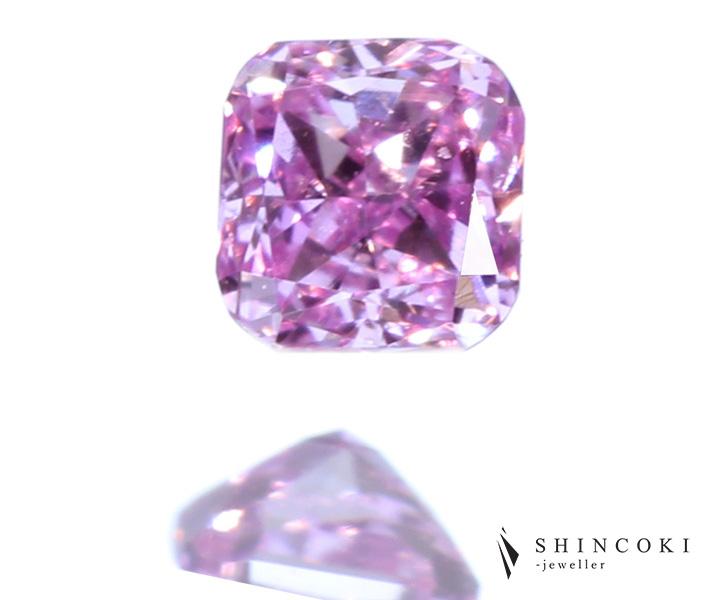 ピンクダイヤモンド 0.056ct FANCY INTENSE PINKISH PURPLE VS-2 ※中央宝石研究所ソーティングシート付