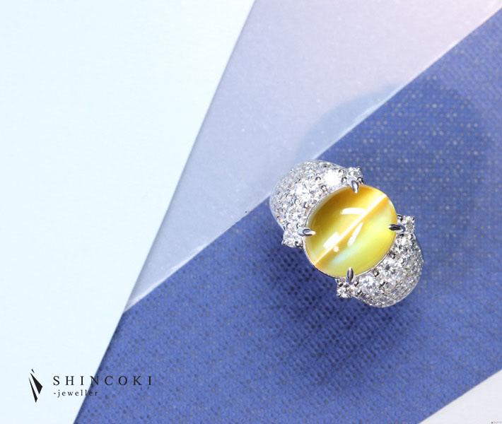 【JP PREMIUM】PT900 13.56ct クリソベリルキャッツアイ リング 1.83ct ダイヤモンド ※GRS鑑別書付