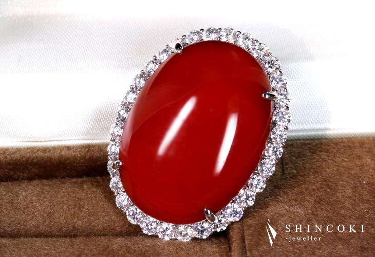 【HANDMADE】PT900 46.42ct 天然血赤珊瑚 ペンダントトップ 3.105ct ダイヤモンド
