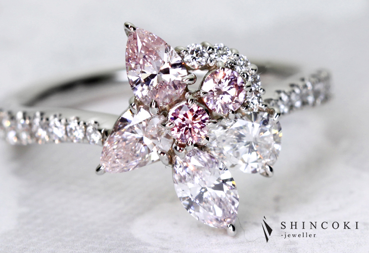 【HANDMADE】PT950 0.214ct D VS2ダイヤモンド Total1.455ctピンクダイヤモンドリング※ソーティングシート付き