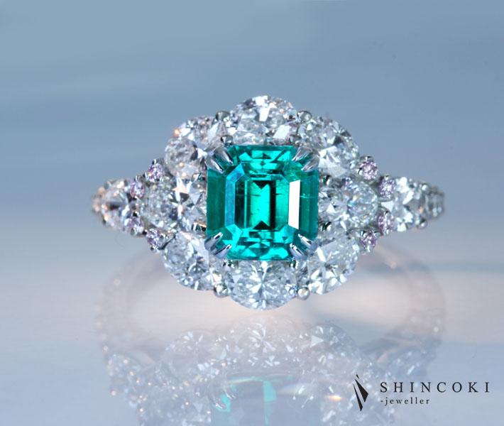 【HANDMADE】PT950 コロンビア産エメラルド 1.19ct リング ダイヤモンド 2.023ct ピンクダイヤモンド 0.04ct