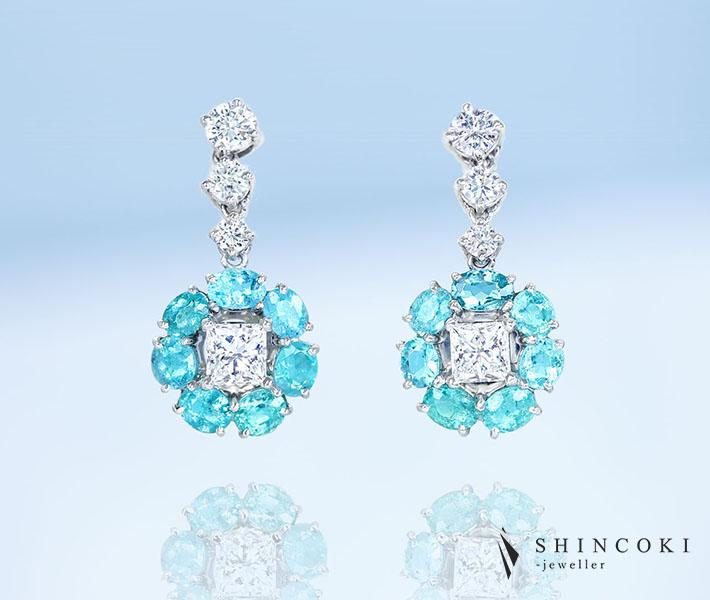【HANDMADE】PT950 ブラジル産パライバトルマリン0.881ct/0.947ct ダイヤモンド0.335ct/0.361ct D VVS-1 ダイヤモンド0.232ct/0.236ct E VVS-1 EXCELLENT HC ピアス※中央宝石研究所ソーティングシート付