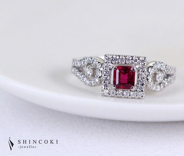 PT900 レッドベリル リング 0.34ct 0.46ctダイヤモンド
