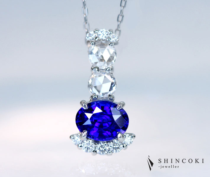 【HANDMADE】PT950 非加熱ロイヤルブルーサファイア 1.19ct ダイヤモンド 0.493ct ペンダントトップ ※GIA鑑別書付 ROYAL BLUE ロイヤルブルーサファイア ノーヒート