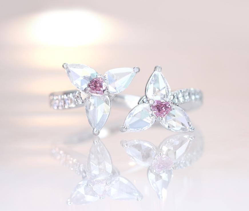 "【HANDMADE】PT950 ピンクダイヤモンド 0.057ct FANCY INTENSE PINK/0.063ct FANCY PURPLISH PINK ペアシェイプ ローズカット 0.674ct トワエモア リング ""Perfume of jewels"""