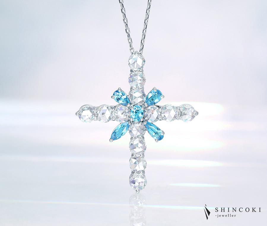 """【HANDMADE】PT950 パライバトルマリン 0.395ct ペアシェイプ ローズカットダイヤモンド 0.923ct ペンダントトップ """"Perfume of jewels"""""""