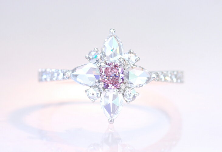 【HANDMADE】PT950 ピンクダイヤモンド 0.2ct FANCY PINK VS1 クッションカット ローズカットダイヤモンド 0.673ct ペアシェイプ ※CGLソーティング付