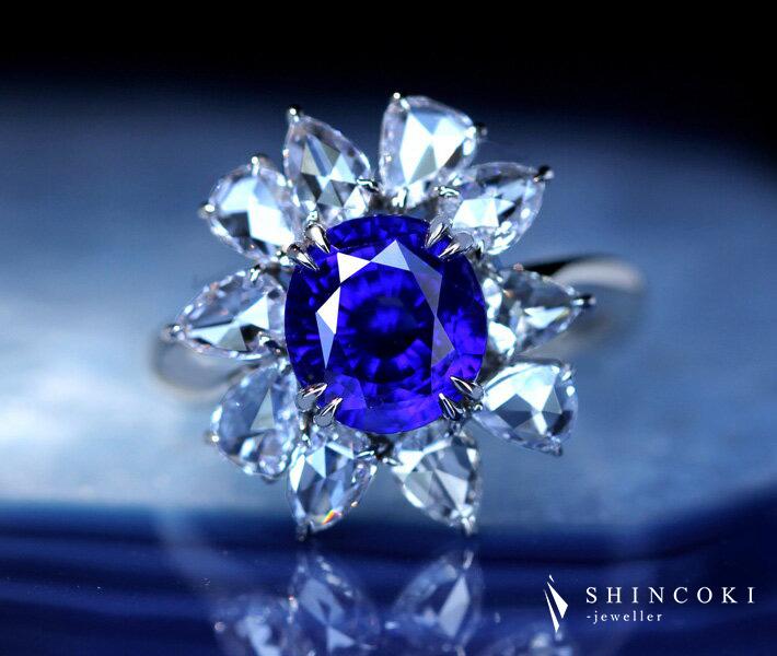【HANDMADE】PT950 非加熱サファイア 3.43ct リング ローズカットダイヤモンド 1.350ct ペアシェイプ ノーヒートサファイア ブルーサファイア ロイヤルブルー