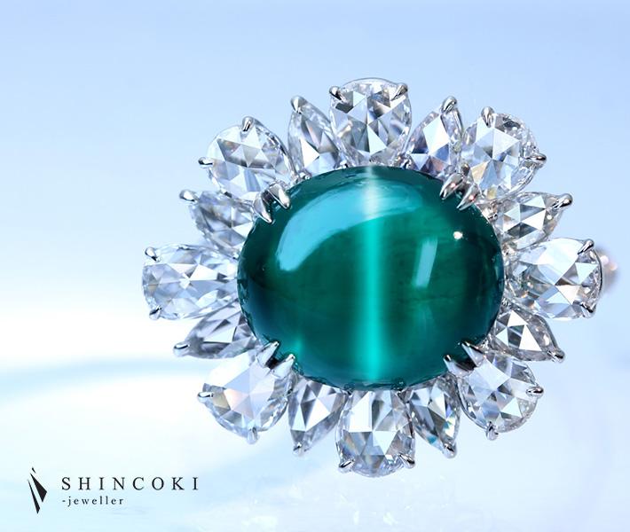 【HANDMADE】PT950 コロンビア産エメラルドキャッツアイ 5.51ct ダイヤモンド 2.137ct ペアシェイプ ローズカット