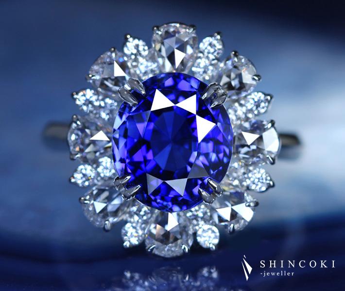 【HANDMADE】PT950 非加熱ロイヤルブルーサファイア 5.90ct リング ダイヤモンド 1.402ct 〔GRS REPORT〕 ROYAL BLUE ノーヒート ローズカットダイヤモンド