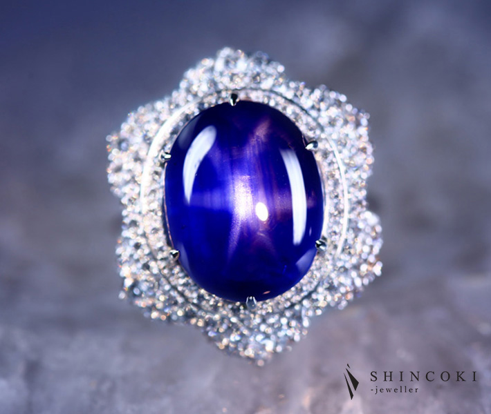 【HANDMADE】【大粒】PT950 ビルマ産ロイヤルブルースターサファイア 15.02ct ダイヤモンド 1.10ct リング[GRS REPORT]ロイヤルブルー ブルーサファイア 6条のスター 圧巻の量感