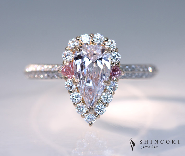 【HANDMADE】【TYPE2A】PT950 ピンクダイヤモンド 1.008ct VERY LIGHT PURPLISH PINK VS1 リング ハートシェイプピンクダイヤモンド 0.047ct/0.058ct FANCY INTENSE PINK 1ctUPピンクダイヤ 天然ピンクダイヤモンド ナチュラルカラー インテンスピンク