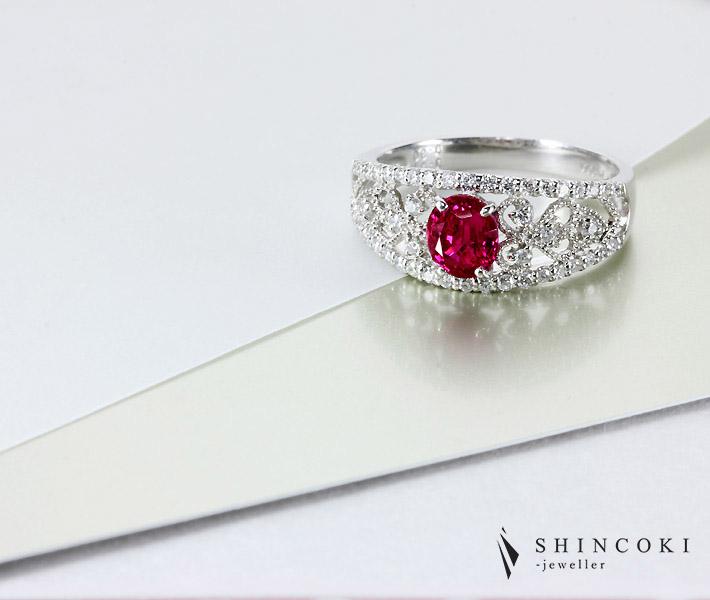【BURMA】ビルマ産 ルビー リング 0.97ct 0.3ct ダイヤモンド PT900