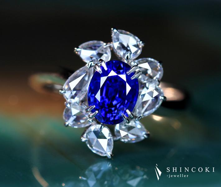 【HANDMADE】PT950 ロイヤルブルーサファイア 1.73ctリング ローズカットダイヤモンド total 0.606ct 〔GRS REPORT〕 royal blue