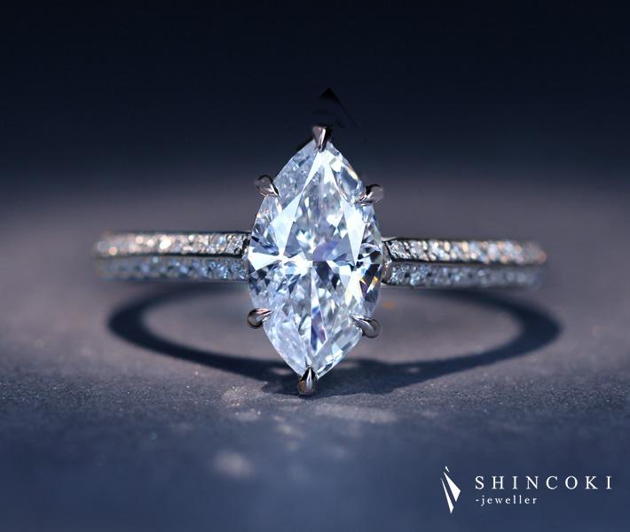 【HANDMADE】PT950 マーキスダイヤモンド 1.033ct E SI2 リング ダイヤモンド 0.186ct 〔CGL〕マーキスカット 1ct カラーレスダイヤモンド