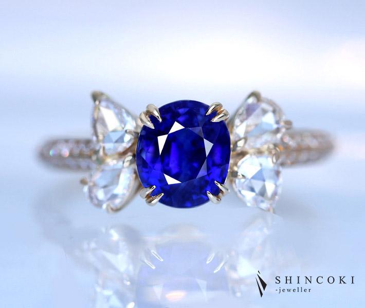 【HANDMADE】K18PG 非加熱サファイア 2.05ct ローズカットダイヤモンド 0.763ct 〔GRS Report〕 vivid blue 2ctUP ブルーサファイア ノーヒート