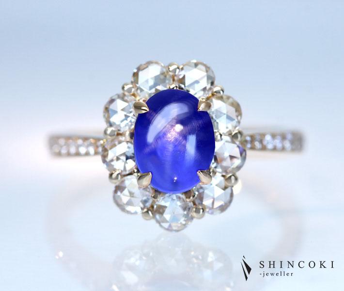 【HANDMADE】K18PG スターサファイア 2.26ct ローズカット ダイヤモンド 0.823ctリング ロイヤルブルー 神秘的な6条