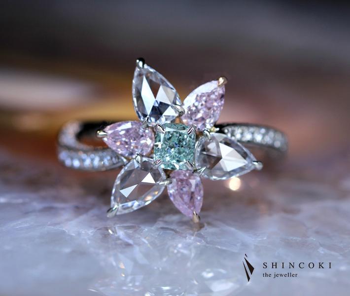 HANDMADE】PT950 グリーンダイヤモンド 0.22ct FANCY GREEN VS1 リング ピンクダイヤモンド0.17ct/0.17ct/0.16ct LIGHT PINK VS2/SI1