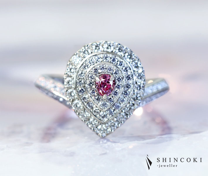 【BDL HANDMADE】PT950 ピンクダイヤモンド 0.101ct FANCY VIVID PURPLISH PINK VS-2 ブルーダイヤモンドメレ 0.13ct ダイヤモンド 0.519ct リング 〔CGL〕 天然ブルーダイヤモンド