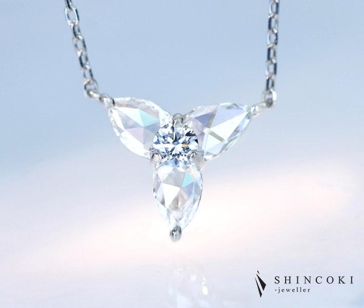 """【HANDMADE】Pt950/850 ブルーダイヤモンド 0.076ct LIGHT BLUE ネックレス ローズカットダイヤトータル 0.346ct ※AGTソーティング付き""""Perfume of jewels"""""""