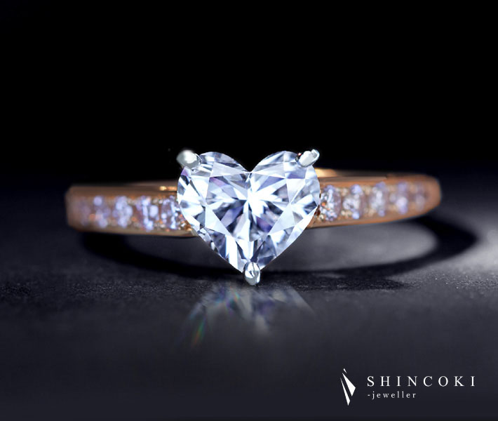 【HANDMADE】PT950/K18PG ハートシェイプダイヤモンド リング 1.008ct D SI-1 天然ピンクダイヤモンド 〔CGLソーティングシート付〕
