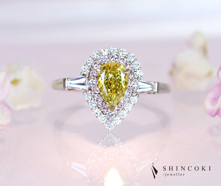 【HANDMADE】PT950 イエローダイヤモンド FANCY VIVID GREENISH YELLOW VS2 リング ダイヤモンド