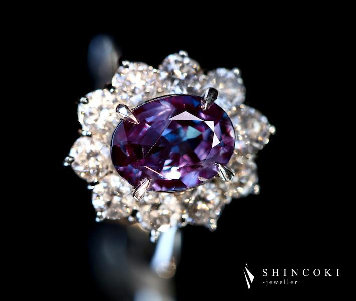 アレキサンドライト 2.08ct リング 最高のカラーチェンジ ダイヤ アレキ ダイヤモンド 1.46ct PT900