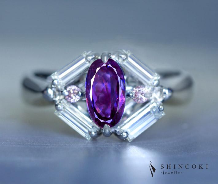PT900 ブラジル産アレキサンドライト 1.044ct リング ダイヤモンド/ピンクダイヤモンド 0.58ct