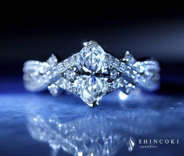 【HANDMADE】PT950 ダイヤモンド リング 0.99ct D VS2 TYPE2 マーキスカット 〔GIA/TYPE2証明書付〕 究極のカラーレス