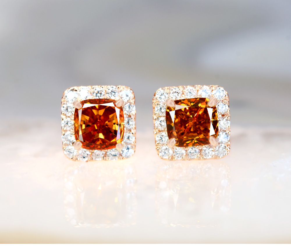 K18PG 天然オレンジダイヤモンド FANCY DEEP YELLOW ORANGE SI1 0.498ct/FANCY DEEP YELLOW ORANGE SI2 0.574ct ダイヤモンド 0.111ct/0.111ct ピアス