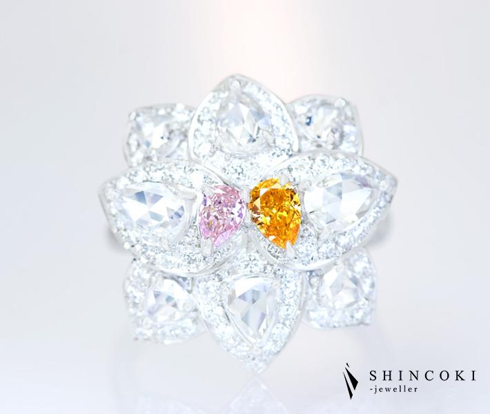 【HANDMADE】PT950 天然ピンクダイヤモンド 0.171ct FANCY PINK VS-1 天然オレンジダイヤモンド 0.245ct FANCY VIVID YELLOW ORANGE SI-2 ダイヤモンド 1.726ct リング
