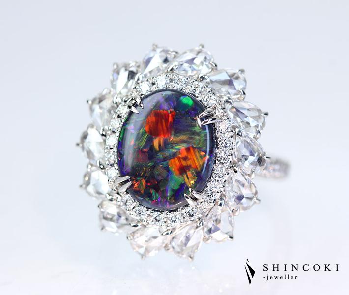 【HANDMADE】PT950 ブラックオパール 2.012ct リング ダイヤモンド 1.9ct ローズカット ハーレクイン