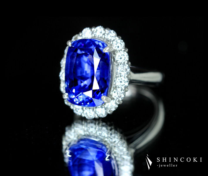 PT900 非加熱ブルーサファイア 12.702ct ダイヤモンド 1.20ct リング