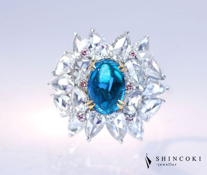 【HANDMADE】PT950 ブラジル産パライバトルマリン 1.73ct リング ダイヤモンド 1.907ct ピンクダイヤモンド 0.058ct〔GIA〕Greenish Blue