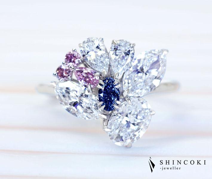 【HANDMADE】PT950 ブルーダイヤモンド 0.13ct FANCY VIVID BLUE/0.08ct FANCY INTENSE PINK リング〔GIA/CGL〕ナチュラルブルー 天然ブルーダイヤモンド ヴィヴィッドブルー