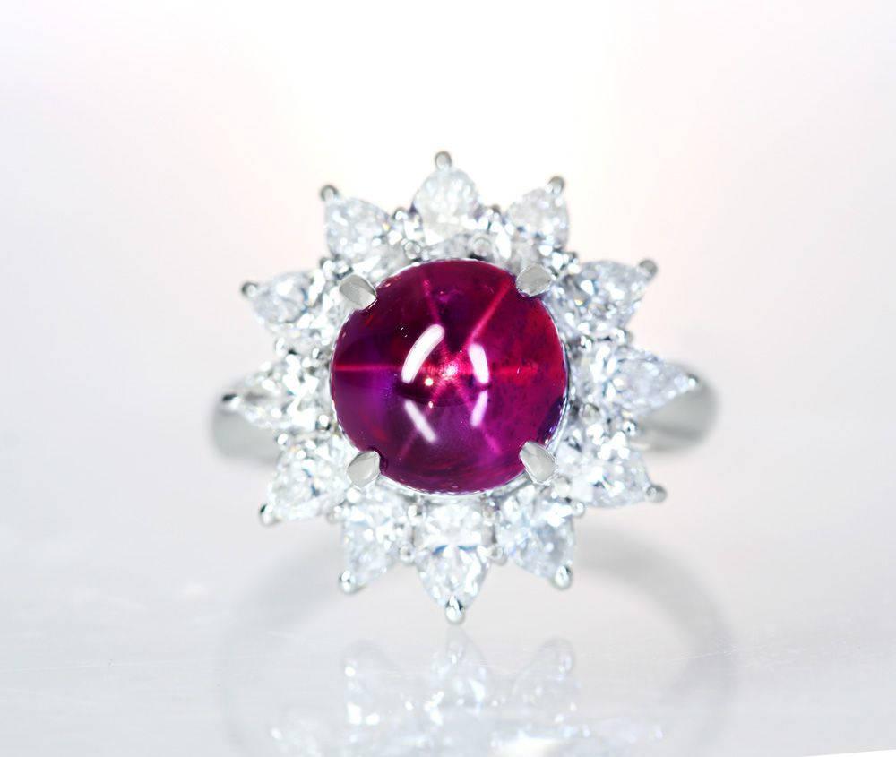 PT900 非加熱スタールビー 6.38ct ダイヤモンド 1.75ct リング