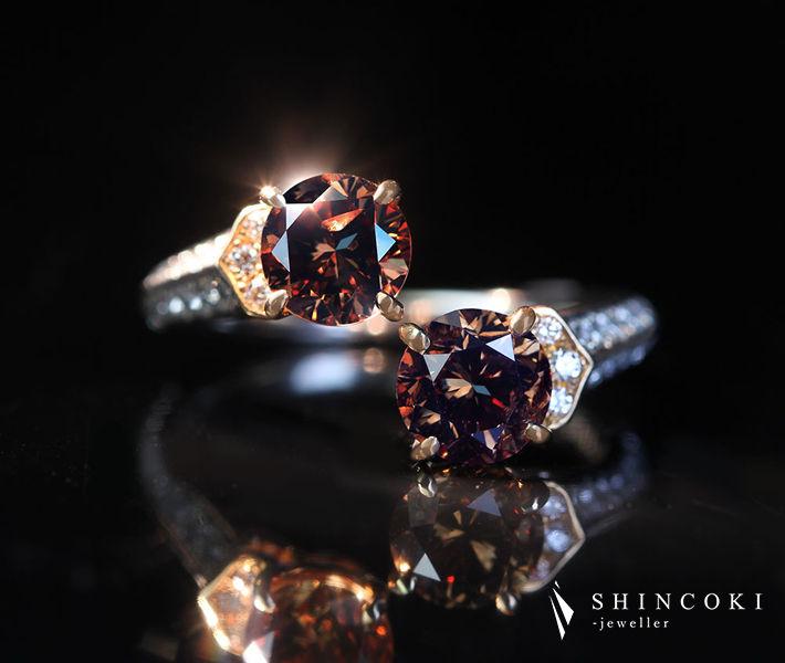 【HANDMADE】PT950/K18PG ブラウンダイヤモンド リング 1.054ct/1.010ct FANCY DARK BROWN ダイヤモンド 0.381ct トワエモア〔CGL〕