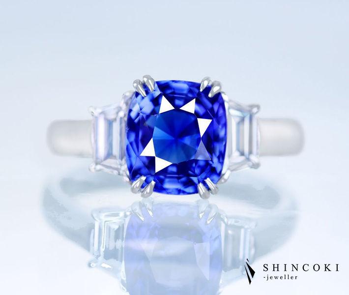 【HANDMADE】【NO HEAT】PT950 スリランカ産非加熱ブルーサファイア 2.82ct ダイヤモンド 0.233ct F VS-1/0.208ct F VS-2 リング [GIA/CGL]