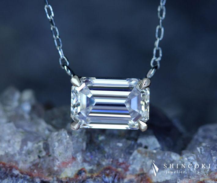 【HANDMADE】PT950 ダイヤモンド 0.82ct F IF ネックレス エメラルドカット〔GIA〕Internally Flawless