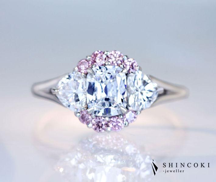 【HANDMADE】PT950 ダイヤモンド 0.618ct D VVS2 リング ハートシェイプダイヤモンド/ピンクダイヤモンド 〔CGL/GIA〕