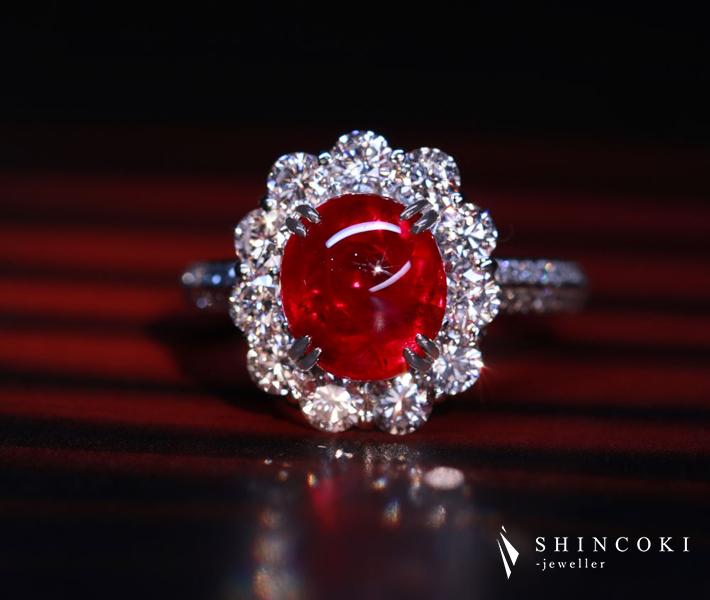【HANDMADE】PT950 ルビー 3.838ct ダイヤモンド 1.27ct リング 取り巻きデザイン